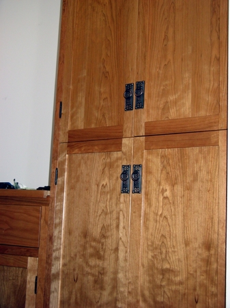 8 Cherry Bedroom Closets built on a curve for a Yurt  | Bedroom