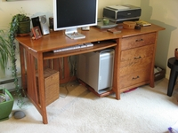 Cherry Desk with Curved Legs close up